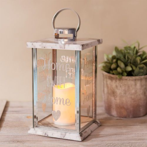 Marble effect glass lantern with LED candle and Home Sweet Home etching